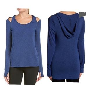 Splendid hooded cold shoulder tee blue medium